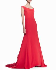 Off-the-Shoulder Gown with Ruffled Train, Persimmon by Lela Rose at Neiman Marcus.