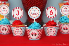 Cupcakes at a Race car party #racecar #partycupcakes