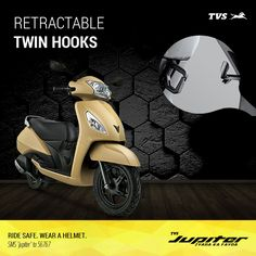 Zyada options for storage with the retractable twin hooks with the TVS Jupiter!