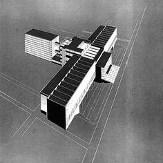 Regional library (unrealized project), Bohuslav Fuchs, Brno, Czechoslovakia 1931