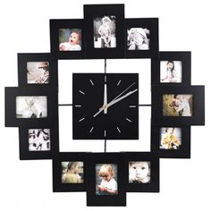 12 Picture Multi Photo Frame Wall Clock