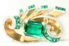 GORGEOUS RETRO VINTAGE MARCEL BOUCHER PHRYGIAN CAP GREEN RHINESTONE PIN