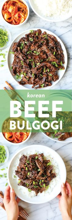 Korean Beef Bulgogi - A super easy recipe for Korean BBQ beef with the most flavorful marinade! The thin slices of meat cook quickly, and it's so tender! Asian Recipes, Beef Recipes, Cooking Recipes, Recipies, Thai Recipes, Easy Recipes, Healthy Recipes, Kimchi, Korean Bbq Beef
