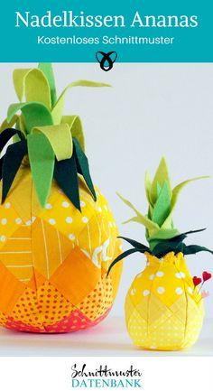 Nadelkissen Ananas nähen Nähideen kostenloses Schnittmuster Stecknadeln