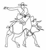 wire wall art of bronco rider on horse