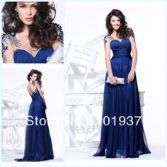 Free Shipping 2013 New Sexy Long Sleeves Chiffon Royal Blue Prom Dresses With Ruffles And Beadings TE92099  $149.00
