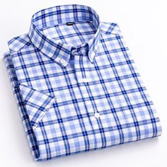 Brand Name: mengquanOrigin: CN(Origin)Material: COTTONApplicable Scene: DailyShirts Type: Casual ShirtsSleeve Length(cm): SHORTStyle: CasualApplicable Season: summerCollar: Square CollarClosure Type: Single BreastedItem Type: ShirtsSleeve Style: RegularGender: MENModel Number: F992Fabric Type: BroadclothPattern Type: P Dickies Shorts, Cotton Shorts, Shirt Sleeves, Types Of Shirts, Casual Shirts, Men Casual, Mens Fashion, Mens Tops, Plaid Dress