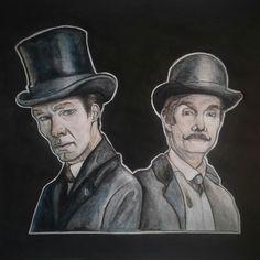 #sherlock #benedictcumberbatch #sherlockholmes #johnwatson #martinfreeman #bbc #art #doodle #cartoon #watercolor