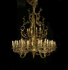 Large Louis XV Style Bronze Fifty Three Light Chandelier