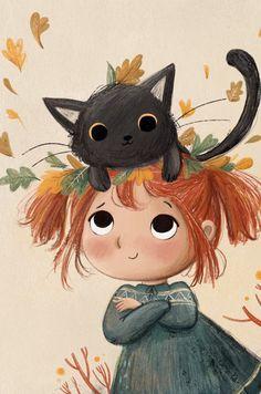 Girl Cartoon, Cartoon Art, Character Illustration, Illustration Art, Cat Drawing, Whimsical Art, Anime Art Girl, Cat Art, Watercolor Art
