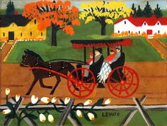 Autumn Carriage Ride Maud Lewis oil on board in) circa 1956 at Mayberry Fine Art June 1 - 2013 Canadian Painters, Canadian Artists, Maudie Lewis, Grandma Moses, Primitive Folk Art, Naive Art, Outsider Art, Teaching Art, Paintings For Sale