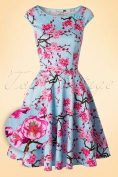 Dancing Days by Banned Spring Blossom Blue Alice Swing Dress 102 39 17815 20160307 0020W1