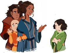 """""""Sketch :D Headcanon where Bumi and Tenzin were idiots, messed with lin and would run to Kya for protection."""" Love it!"""