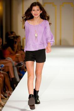 Fun purple shirt with black shorts - Teen/Tween Fashion