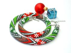 Bead Crochet Necklace Christmas colors by Chudibeads on Etsy