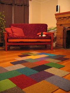 If I can find this great color variety of carpet remnants, I'm SO making this!