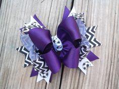 Purple Soccer Hair Bow Stacked Soccer by ransomletterhandmade, $8.50