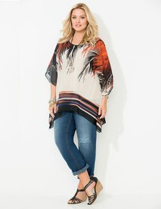 Isle Of Palms Poncho | Catherines You'll turn heads in this beautifully printed woven poncho. The sheer, flowing fabric features an artistic palm leaf design with a bold, striped border. Scoop neckline. Poncho-style sleeves. Two-point hem. Catherines tops are perfectly proportioned for the plus size woman. Plus Size Fall Fashion, Autumn Fashion, New Clothing Trends, Palms, Plus Size Women, Bell Sleeve Top, Leaf Design, Trending Outfits, How To Wear