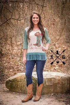 7c1716561 Add this fun western shirt with feminine lace touches to your collection! Southern  Grace  Life is Better in Boots  Raglan