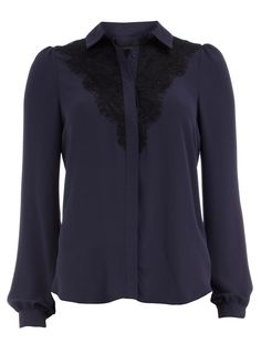 Navy lace bib shirt  Price:£30.00