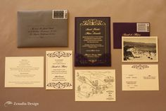 Vintage 1940s theme wedding invitation suite by Zenadia Design.