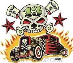Vince Ray Skull n Rods Sticker