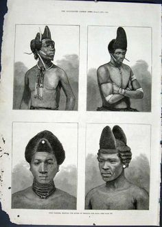 Zoulou's hair style in south africa in 1879 Coiffures d'hommes Zoulou Afrique du Sud, 1879