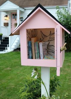 We love to read books in our family, but I also love to pass them along when we are finished! We decided to build and decorate our very own little free library! On the blog, I'm sharing the easy building plans and the small decor touches we made to make this sweet little library! #nestingwithgrace #littlelibrary #buildingplans #booklovers