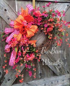 Stunning Sunset Fields, Summer Wreath, Summer Door, Floral Wreath, Beautiful Wreath