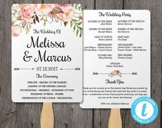 Watercolor Wedding Program Fan Template with Flowers Wedding