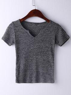 853b1ee861 Camiseta manga corta escote V -gris-Spanish SheIn(Sheinside) Estilo Básico