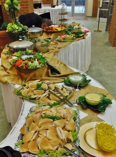 Catering for a special birthday celebration~ Heavy finger food buffet~fruit and veggie platter Buffet Set Up, Ard Buffet, Styling A Buffet, Catering Display, Catering Food, Catering Buffet, Comida Para Baby Shower, Heavy Appetizers, Party Platters