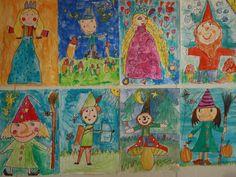 """Sprookjesfiguren getekend en geschilderd door de leerlingen van het 2de leerjaar.  Onze inspiratiebron waren de tekeningen van Kristien Aertssen in : """"Mijn sprookjeskijkboek"""" ."""