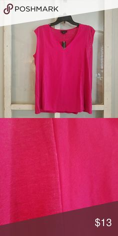 PRICE DROP!! Sleeveless Top Fushia sleeveless top.  Main body is linen/poly blend.  Center of front is poly (rayon like).  New with tags. Metaphor Tops