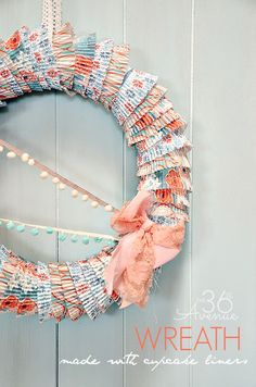 How to make a wreath using cupcake liners. Easy tutorial @Matty Chuah 36th Avenue .com #wreath #diy