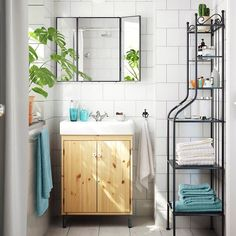 Create space in the smallest of bathrooms with smart storage, like the  IKEA SILVERÅN sink cabinet or the RÖNNSKÄR shelf unit! Link in profile to shop.