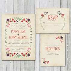 Wedding Invitation / / Rustic Invite Set / / Spring Wedding Set / / Floral Burlap & Lace Garden