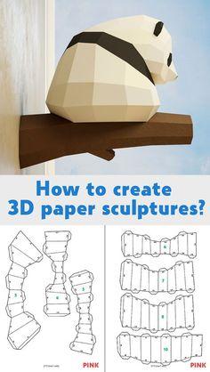 Papercraft Little Panda, DIY Paper craft, 3D template PDF kit, make your own low poly baby panda, origami pepakura, home decor idea, statue #Papercraft #DIY