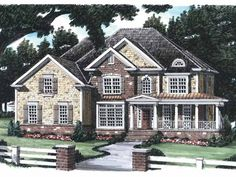 Country House Plan with 4045 Square Feet and 5 Bedrooms from Dream Home Source | House Plan Code DHSW29116