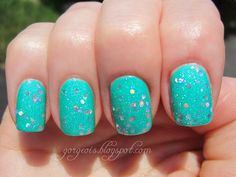 Venique Twinkling Snow over China Glaze Turned Up Turquoise