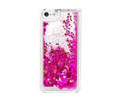 Pink Star Glitter Waterfall Phone Case