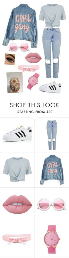 """Untitled #665"" by panicx ❤ liked on Polyvore featuring adidas, Topshop, T By Alexander Wang, High Heels Suicide, Lime Crime, ZeroUV, Aamaya by Priyanka and Boum"