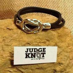 The JUDGE KNOT Black Leather Silver Logo Bracelet  $10 Use the code #pinlove for 15% off! #leather #black #silver #bracelet #judgeknot