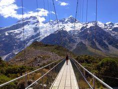 Hiking Hooker Valley Track over three swing bridges