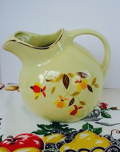 1950s Hall's Jewel Tea Ball Pitcher Autumn by NonabelleVintage, $50.00