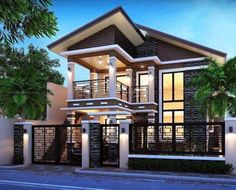 Simple 2 Storey House Design In The Philippines Small Modern House Plans, Modern House Design, Style At Home, Modern House Philippines, Bungalow Haus Design, Residential Building Design, 2 Storey House Design, Philippine Houses, Facade House
