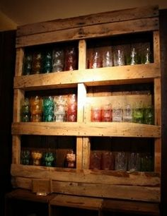 Pallet-keep glasses near the keg in the barn