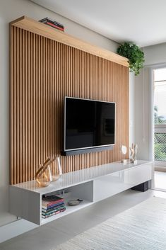 Living Room Tv Unit, Accent Walls In Living Room, Living Room Decor, Flat Interior Design, Interior Design Living Room, Wooden Wall Design, Bedroom Closet Design, New Home Designs, Decoration