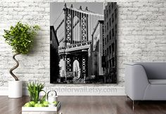 Large Canvas art New York photography Empire State Building under Manhattan Bridge like Movies by PHOTOFORWALL