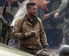 Pitt, on the set. Fury